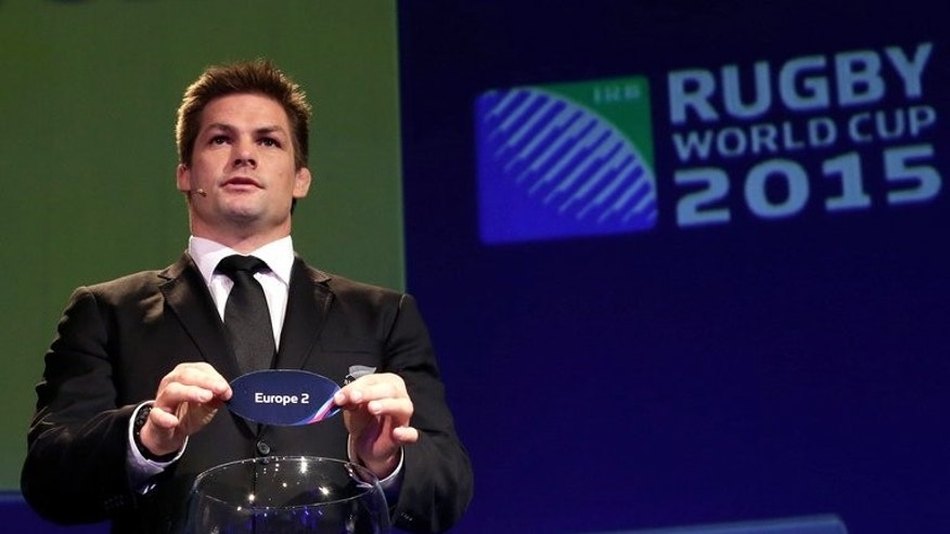 All Blacks captain Richie McCaw during the IRB Rugby World Cup 2015 pool allocation draw in London on December 3, 2012. He will play his first game in more than seven months this weekend when he turns out for club side Christchurch, officials said Tuesday.