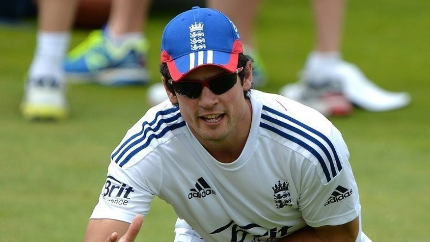England's Alistair Cook attends a practice session at Trent Bridge in Nottingham on July 8, 2013. One of Cook's first acts as England captain following Strauss's retirement was to bring Kevin Pietersen back on board for the tour of India.