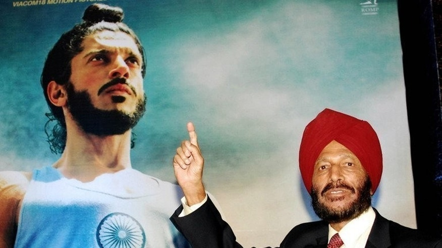 "Former athlete Milkha Singh attends a screening of ""Bhaag Milkha Bhaag"" in Mumbai on June 19, 2013. The film charts the journey of young Singh who lost his family during India's partition in 1947 and went on to compete at the 1960 and 1964 Olympic Games."