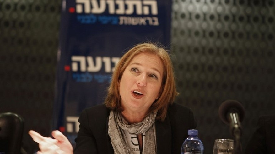 Israeli Justice Minister Tzipi Livni, speaks during an election event in Jerusalem on January 15, 2013. Livni was due in Moscow for talks over Russia's plans to supply S-300 anti-aircraft missiles to the regime of Syrian President Bashar al-Assad