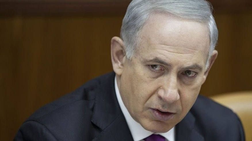 Israeli Prime Minister Benjamin Netanyahu attends the weekly cabinet meeting in Jerusalem on July 7, 2013. Netanyahu named as Israel's new ambassador to Washington Tuesday a peace process hawk seen as close to President Barack Obama's Republican opponents.