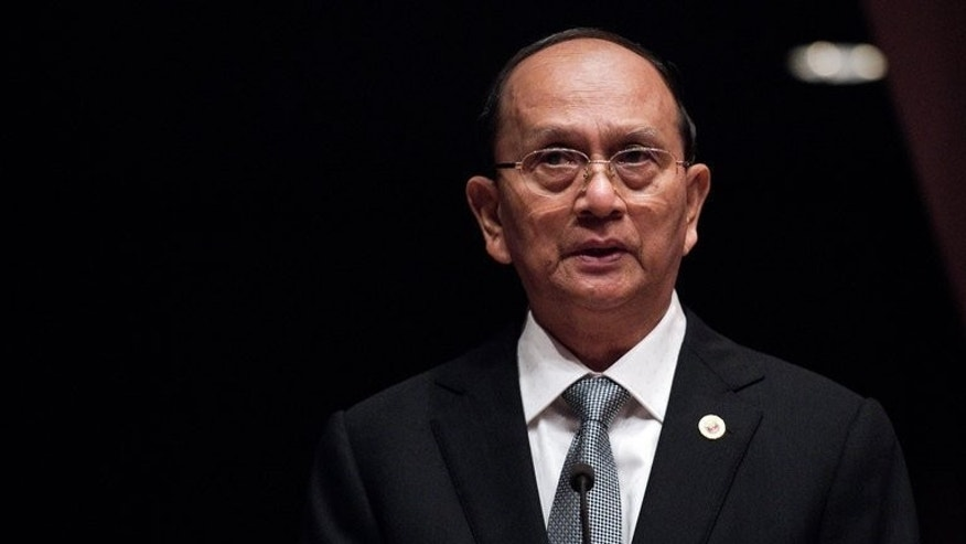 Myanmar leader Thein Sein delivers a speech in Bangkok, on April 29, 2013. Thein Sein will embark on a four-day visit to Britain and France within days, as the international community continues to welcomes reforms in the former junta-ruled country.
