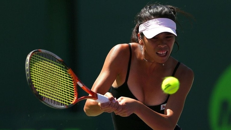 Hsieh Su-Wei of Taiwan plays a match against Agnieszka Radwanska of Poland during the Sony Open in Key Biscayne, Florida on March 21, 2013. Taiwan called on more companies to finance athletes amid concerns Hsieh Su-Wei might take up Chinese citizenship in exchange for a seven figure sponsorship deal.