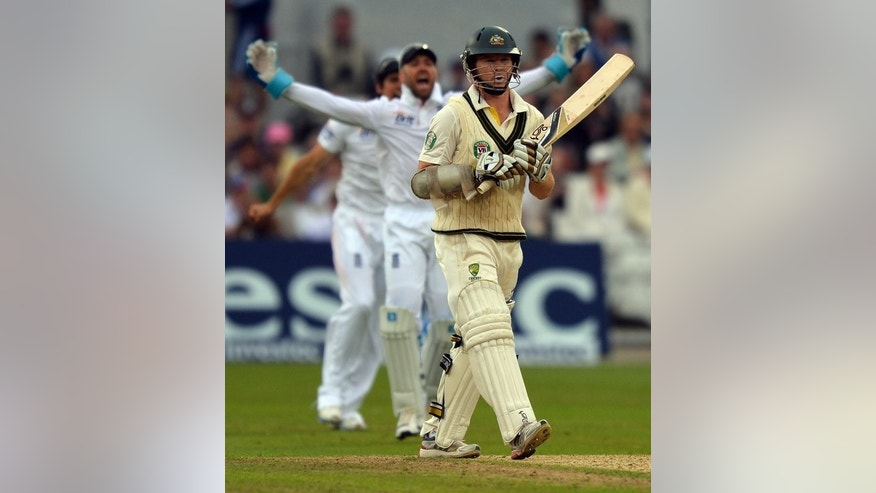 Australia's Chris Rogers is dismissed lbw on the first day of the first Test of the Ashes on July 10, 2013. Michael Clarke's team bowled England out for a seemingly meagre 215 only to relinquish their grip to be 75 for four at Nottingham's Trent Bridge ground.