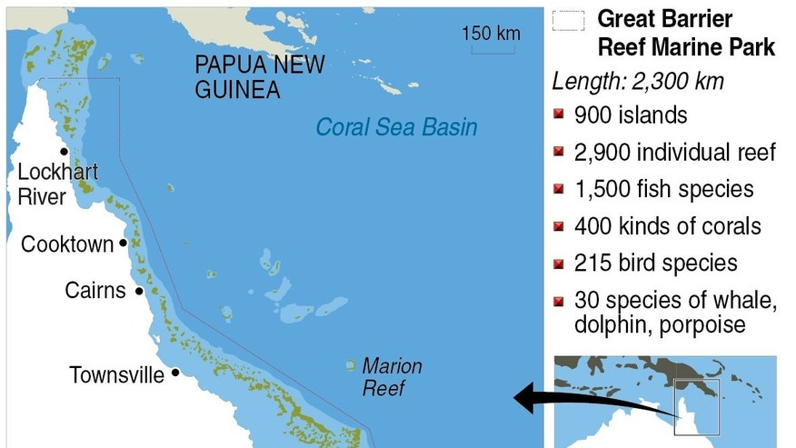 Graphic on Australia's Great Barrier Reef. Major flooding in 2010-2011 followed by powerful cyclone Yasi had badly damaged the world's largest coral reef, degrading water quality and depleting overall cover by 15 percent.