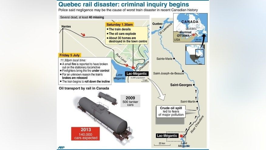 Detailed map of Lac-M??gantic, Canada where dozens are stil missing following a train disaster.