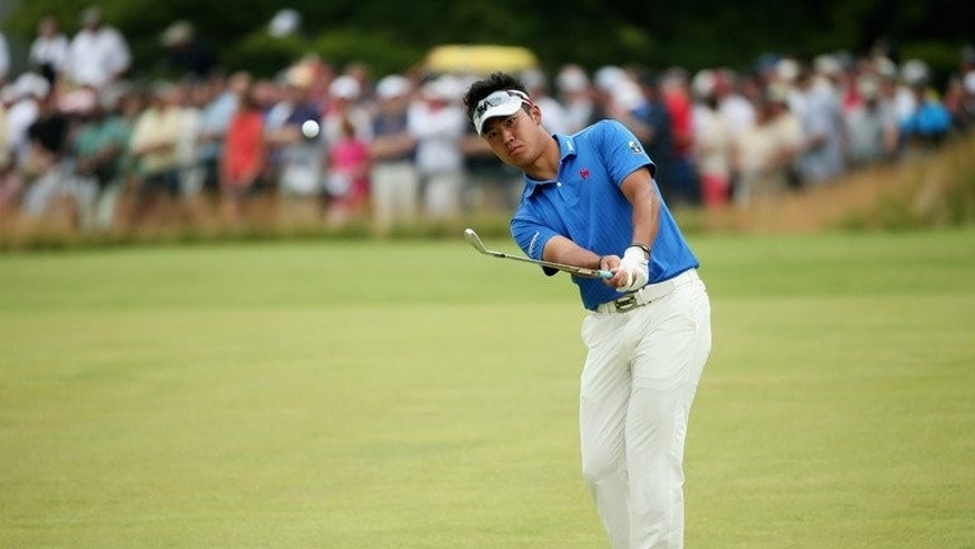 Hideki Matsuyama chips to the first green during the final round of the U.S. Open at Merion Golf Club on June 16. Japan's rookie superstar said Wednesday he is ready to impress in his debut at the British Open as he steps up his quest for a US Tour card.