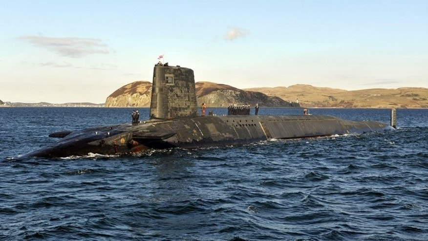 The Trident nuclear submarine, HMS Victorious, is shown on patrol off the west coast of Scotland on April 4, 2013. London is examining proposals to claim sovereignty over the military base in Scotland which houses its Trident nuclear deterrent if the Scottish people vote for independence next year, the Guardian reported Thursday.