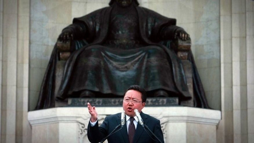 Mongolia's President Tsakhia Elbegdorj delivers a speech at the Central Square in Ulan Bator on June 23, 2013. Elbegdorj was sworn in Wednesday, promising rapid development amid a resources boom.