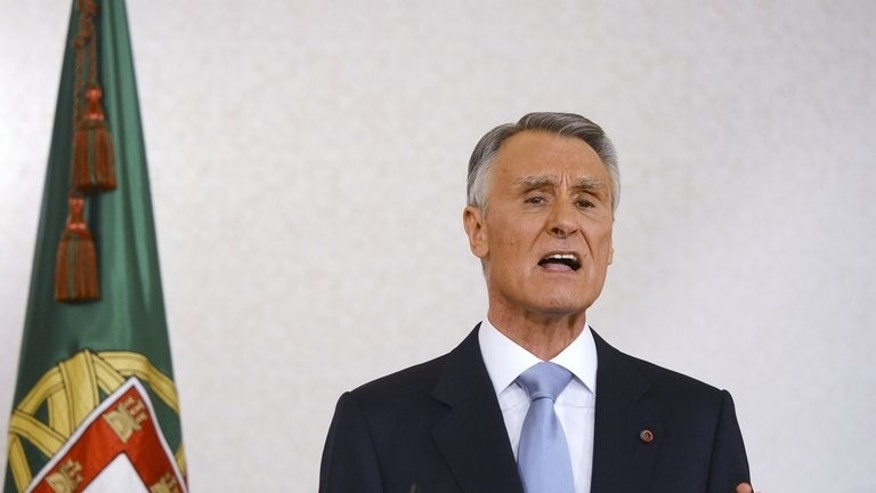 Portuguese President Anibal Cavaco Silva adresses the nation from Belem Presidential palace in Lisbon on June 10, 2013. Portuguese President Anibal Cavaco Silva approved a reshuffled ruling coalition, ending a 10-day crisis over hated austerity policies that nearly toppled the government.