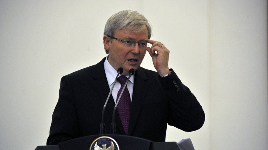 Australian Prime Minister Kevin Rudd, shown here in southern Jakarta, on July 5, 2013, said Thursday the China resources boom is over, leaving the economy at a crossroads, as he called for a new productivity pact to boost competitiveness.