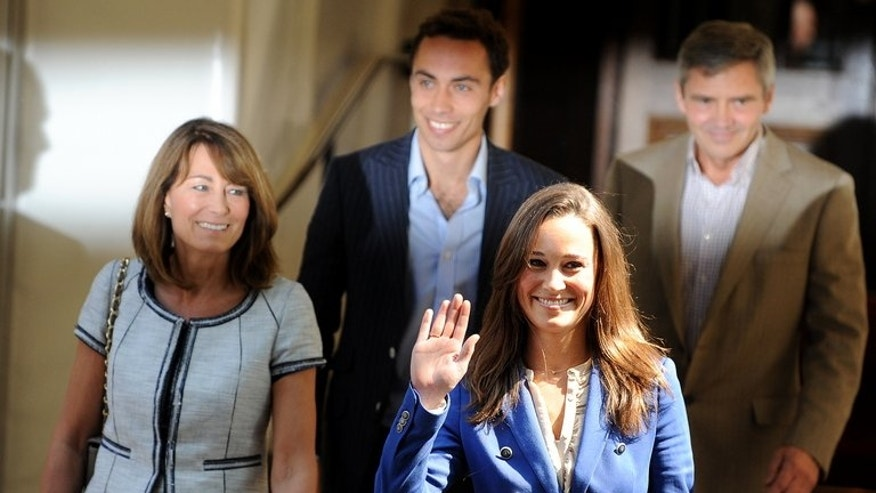 Carole, James, Michael and Philippa Middleton, the family of Catherine, duchess of Cambridge, leave the Goring Hotel in London on April 30, 2011. Kate Middleton was the middle-class girl who made becoming a princess look easy -- but bringing up a royal baby will bring fresh challenges for Britain's glamorous future queen.