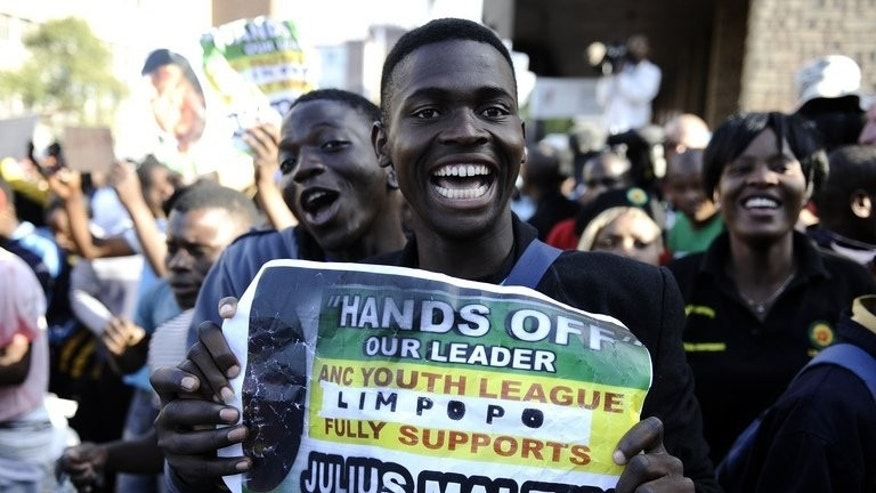 "Supporters of Julius Malema in Polokwane last September. Lambasting the ruling ANC in a volley of political invective, Malema has issued a populist call for voters to abandon his former comrades and back his ""Economic Freedom Fighters""."