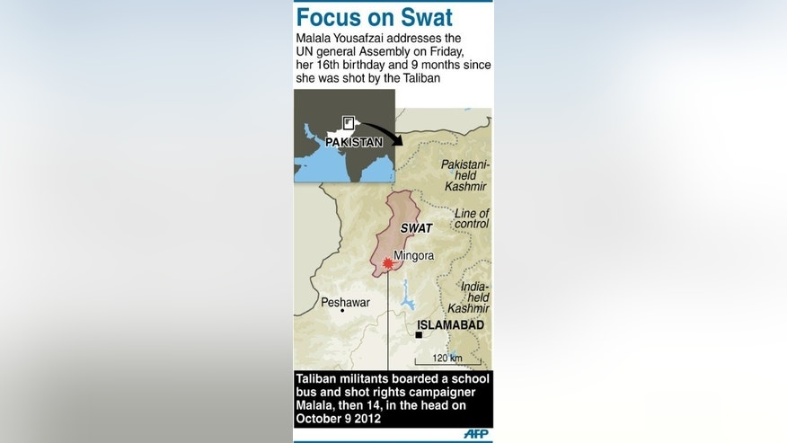 Graphic showing Pakistan's Swat valley where school girl Malala Yousafzai was shot in the head by Taliban militants last year.