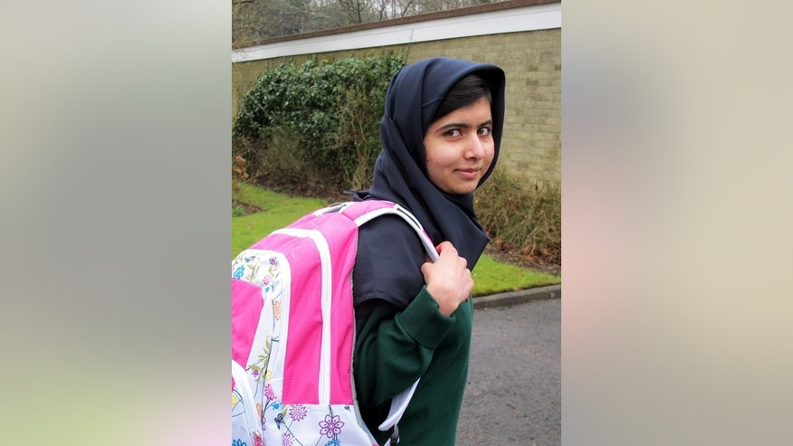Pakistani schoolgirl Malala Yousafzai in Birmingham, central England, on March 19, 2013 returns to school for the first time since she was shot in the head by the Taliban in October 2012 for campaigning for girls' education. She will address the UN General Assembly on Friday -- her 16th birthday and nine months since the shooting.