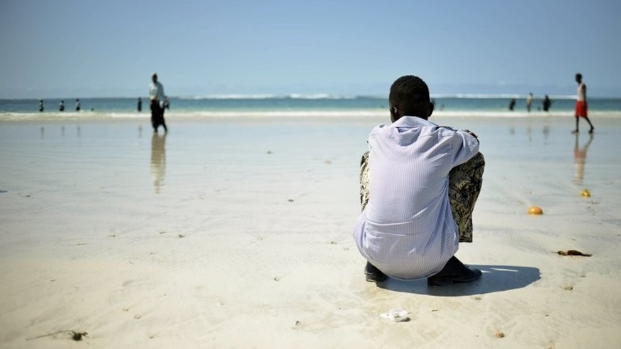 An African Union-United Nations Information Support Team picture of Mogadishu's Lido beach on April 15. Lifeboats from a hijacked ship held by Somali pirates that sank last week have been spotted onshore, naval officials said Thursday, raising hopes that some of the 15-man crew may have survived.