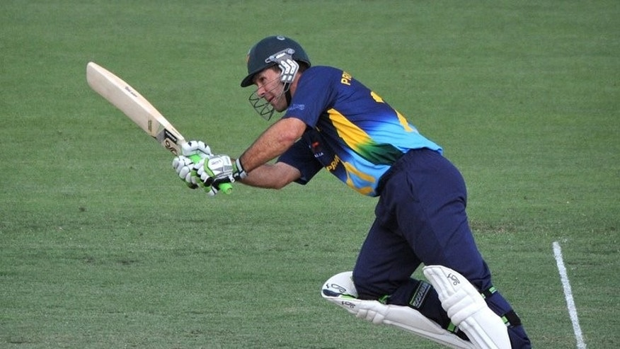 Captain Ricky Ponting of Australia bats in Canberra on January 29, 2013. Ponting bowed out in style as the former Australia captain hit 169 not out for Surrey in his final first-class innings against Nottinghamshire