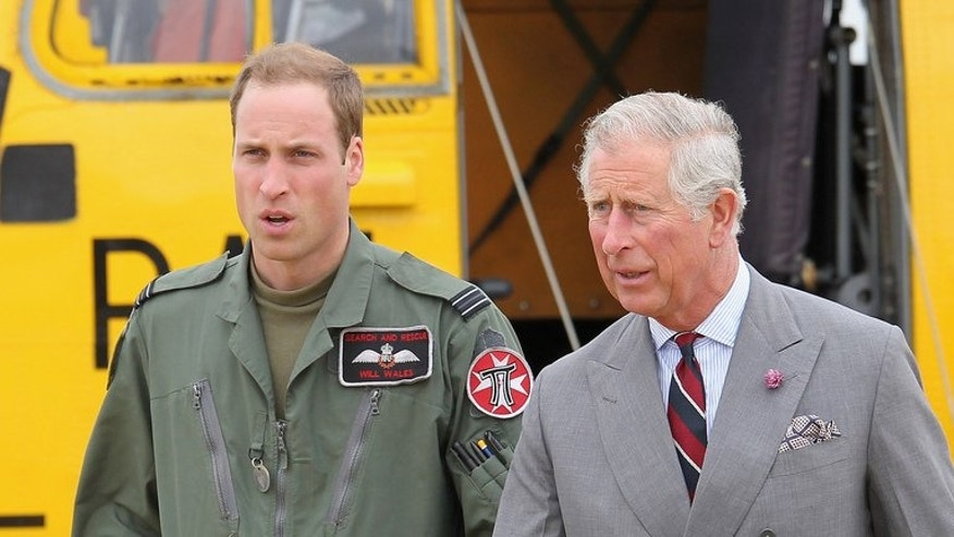 Prince William (left) and his father Prince Charles head back to the RAF Rescue base after Prince William showed his father round his helicopter during a visit to an air force base in northwest England on July 9, 2012. William's future has always been mapped out but as fatherhood nears, the 31-year-old shows little sign of giving up the semblance of a normal life he has carved out for himself.