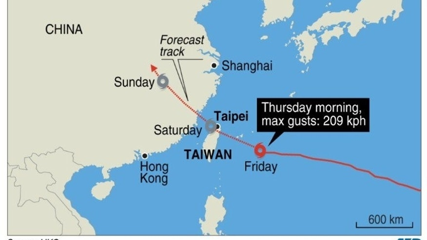 Graphic showing the path of Typhoon Soulik, as it heads towards Taiwan. The Central Weather Bureau downgraded Soulik from a super typhoon to a moderate typhoon but warned residents across the island to prepare for torrential rain and rough seas.