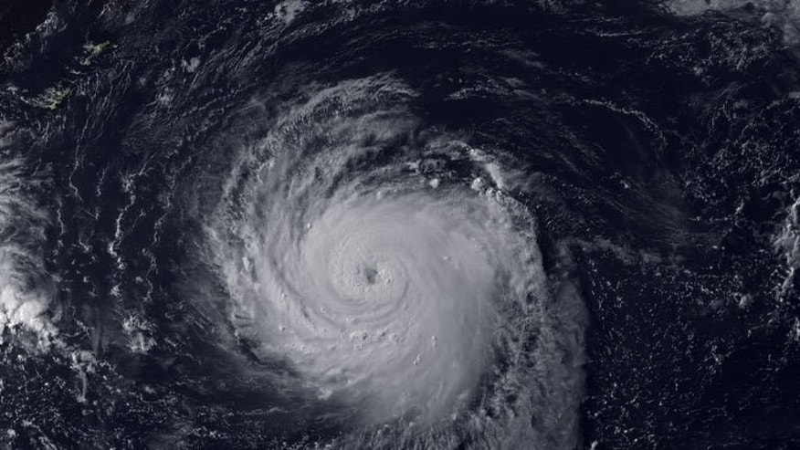 A NOAA satellite image on July 10, 2013 shows Typhoon Soulik in the Pacific Ocean. The typhoon, packing gusts of up to 227 kilometres (140 miles) per hour, was 960 kilometres east of the island's southernmost tip as of 0300 GMT, Taiwan's Central Weather Bureau said.
