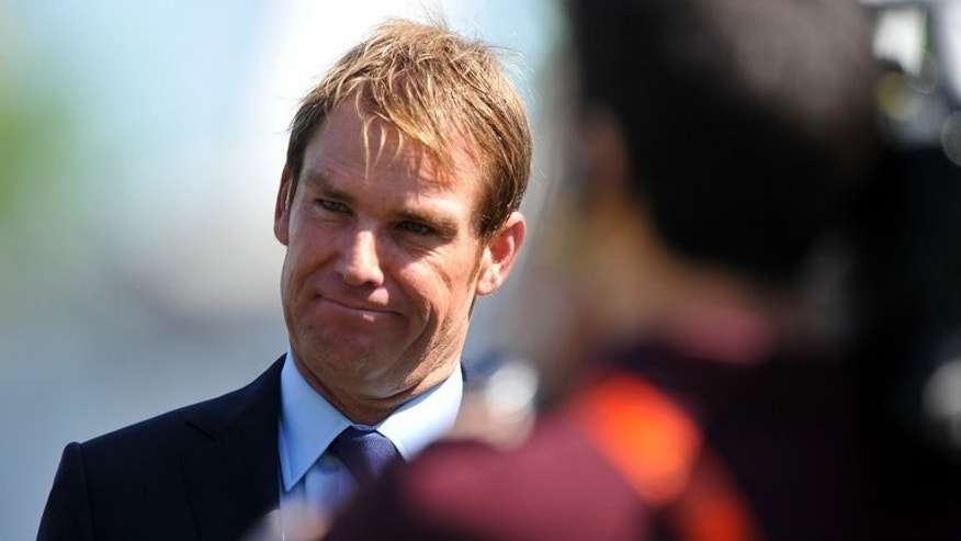 Former Australian cricketer Shane Warne is interviewed for television on May 25, 2012 at Trent Bridge. Warne is to be inducted into the International Cricket Council (ICC) Hall of Fame, the global governing body said in a statement issued from its Dubai headquarters.