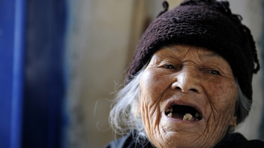 Xu Yuhe, 103, in China's Chengmai city on January 22, 2013. Experts on ageing who have travelled to the area say several factors could be involved in the age-defying phenomenon.