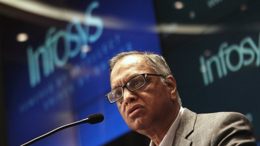 Founding member of Infosys, N.R. Narayana Murthy, speaks at a press conference at the company's headquarters in Bangalore, on June 1, 2013. Infosys recalled Murthy, who had retired two years ago at the age of 65, to serve as executive chairman in a bid to revive the company's fortunes.