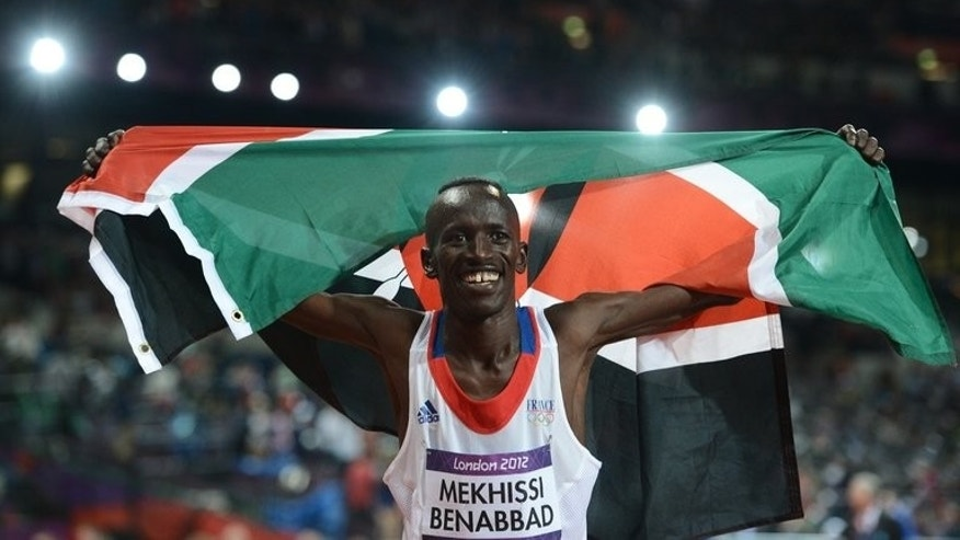 Kenya's Ezekiel Kemboi celebrates after winning the men's 3000m steeplechase during the 2012 Olympic Games on August 5, 2012 in London. The men's steeplechase and 800-metre races top the Kenyan trials on Saturday for the world athletics championships at the Nyayo national stadium in Nairobi.