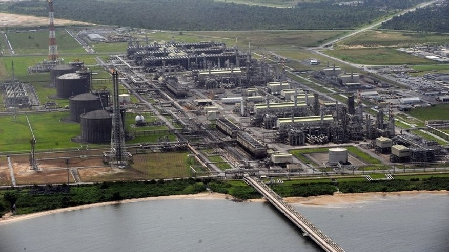 An aerial view of Nigeria Liquefied Natural Gas (NLNG) plant at Bonny Island in Rivers State on March 22, 2013. A Nigerian agency that has blockaded liquefied natural gas exports for three weeks, costing $475 million in revenue, agreed Friday to end its action after resolving a fees dispute, the company said.