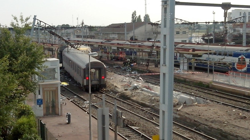 July, 12, 2013 - A view of the Bretigny sur Orge train station, south of Paris, after a packed passenger train skidded off its rails.