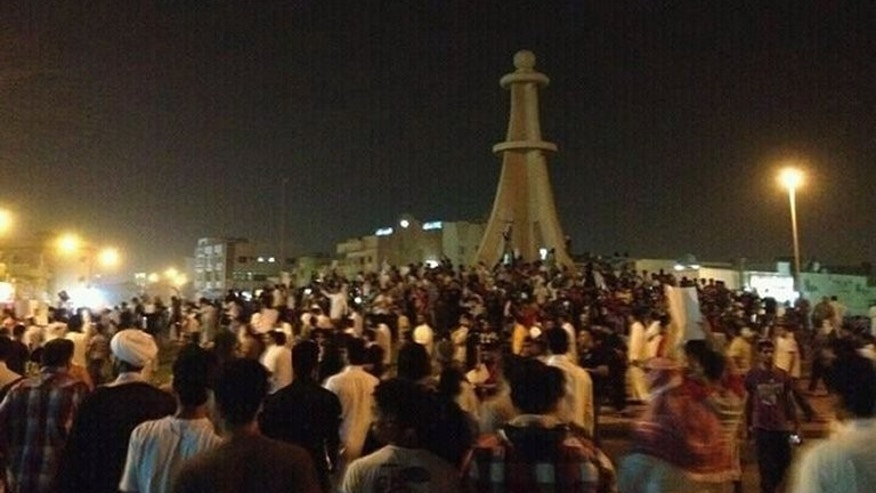 Demonstrators gather in Qatif in the Shiite-populated Eastern Province of the Sunni kingdom of Saudi Arabia on July 8, 2012. A Saudi special court has sentenced two Shiite men to eight and nine years in jail, respectively, for taking part in such protests in Eastern Province.