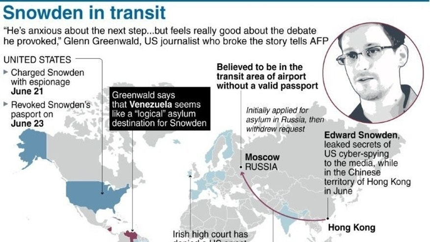 Graphic on US intelligence leaker Edward Snowden and the asylum offers he has received.