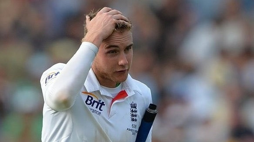 England's Stuart Broad leaves the pitch at the end of the third day of the Ashes cricket match in Nottingham on July 12, 2013. West Indies great Michael Holding has called for Broad to banned from the second Ashes Test at Lord's after the England batsman refused to walk in the series opener.