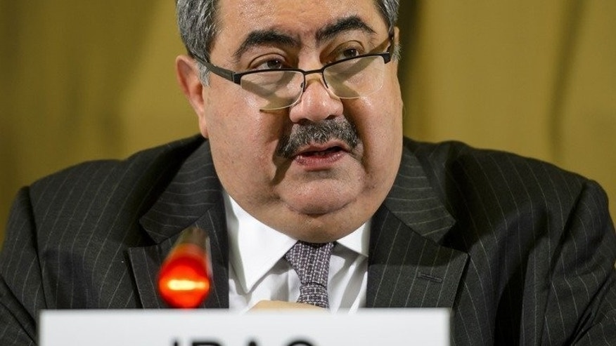 Iraqi Foreign Minister Hoshyar Zebari delivers a speech before the Conference on Disarmament in Geneva, on June 25, 2013. Iraq lacks the means to stop Iranian arms deliveries to Syria through its airspace, if there are any, Zebari said in comments published by the Asharq al-Awsat newspaper.