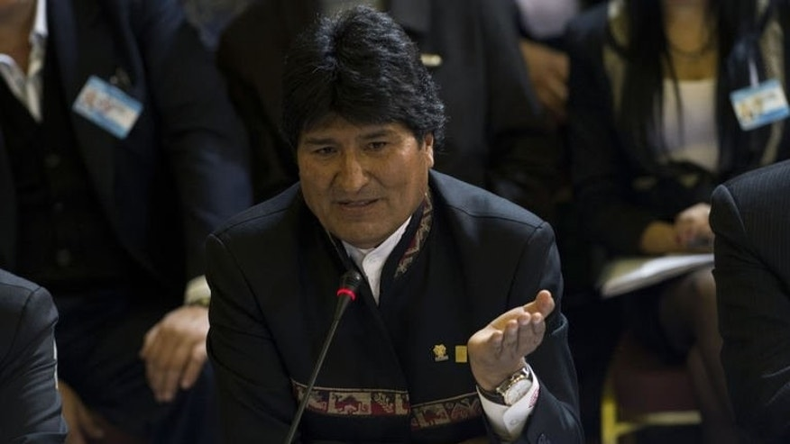 Bolivia's President Evo Morales speaks during the XLV Mercosur Summit, at the headquarters of the bloc in Montevideo on July 12, 2013. Morales on Saturday accused US intelligence of hacking into the email accounts of top Bolivian officials, saying he had shut his own account down.