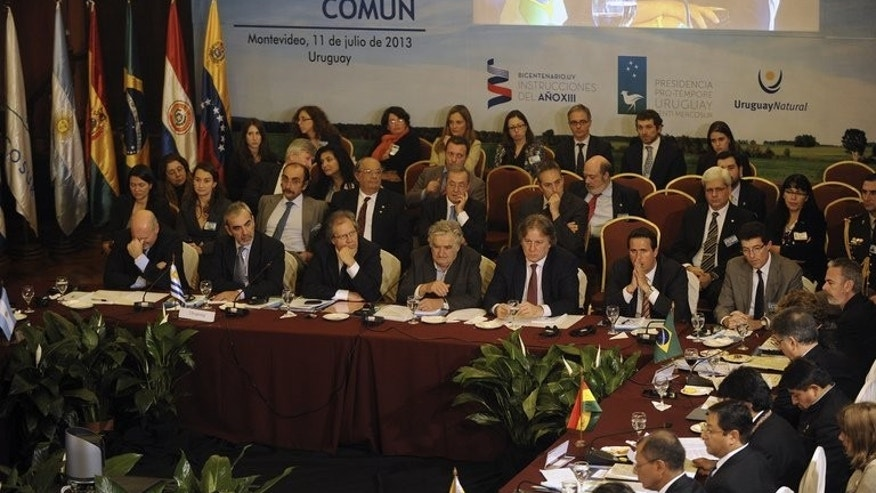 Plenary session of the XLV Mercosur Summit in Montevideo on July 12, 2013. South American leaders defended their right to offer asylum, venting anger at claims of US spying in the region while intelligence leaker Edward Snowden's fate hangs in the balance.