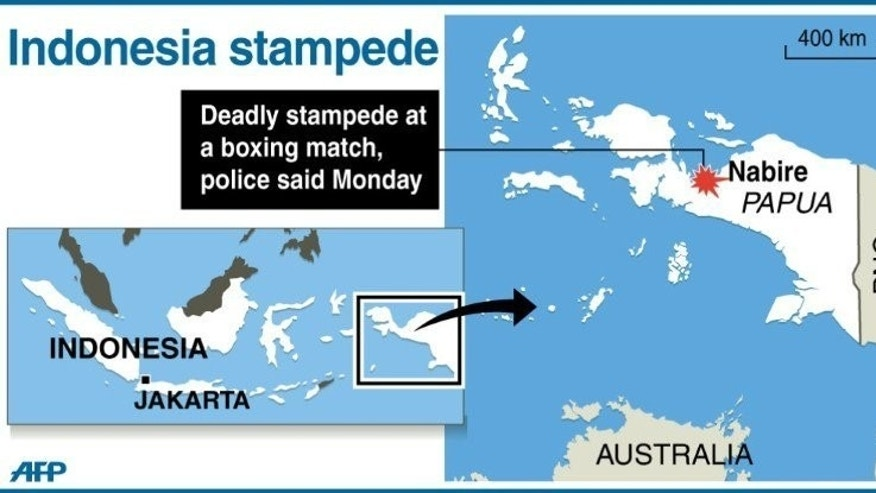 Graphic map showing Nabire in Indonesian Papua, where 17 spectators were crushed to death in a stampede at a boxing match late on Sunday, according to police.