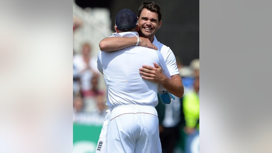 England's James Anderson celebrates victory over Australia at Trent Bridge on July 14, 2014. Anderson insisted he was prepared for more hard work in pursuit of Ashes glory after leading England to a nailbiting 14-run win.