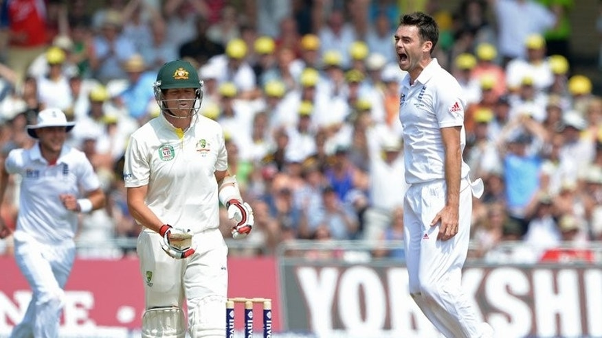England's James Anderson (R) celebrates after claiming the wicket of Australia's Peter Siddle on July 14, 2013. Profligate use of reviews ultimately cost Australia a heart-breaking first Test loss and has damaged their chances of regaining the Ashes, the nation's newspapers said.