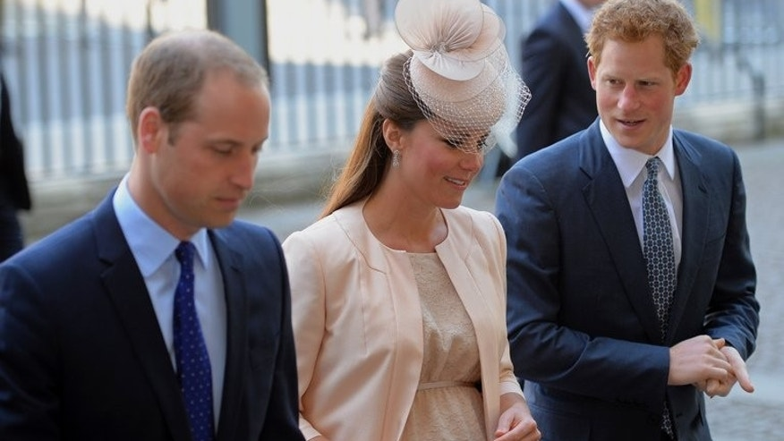 Prince William, (L) Catherine, Duchess of Cambridge, and Prince Harry arrive at Westminster Abbey in London, on June 4, 2013. The Duchess of Cambridge's pregnancy has seen her endure illness, media frenzies, bikini shot scandals and a prank that ultimately ended in tragedy.