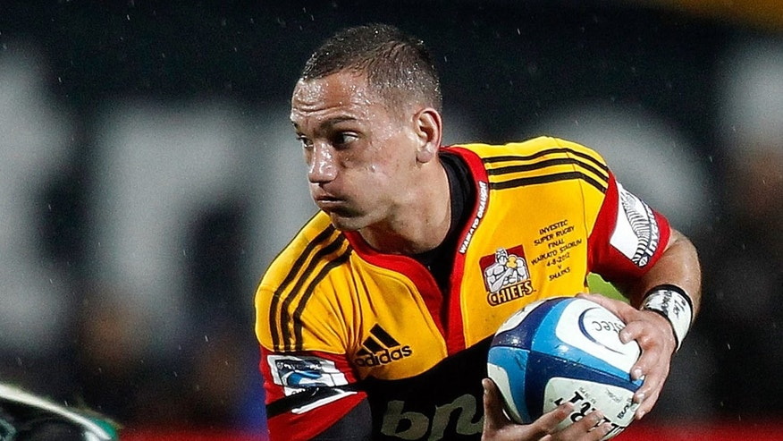 This file photo shows Aaron Cruden of the Waikato Chiefs in action during a Super 15 rugby union match in Hamilton, on August 4, 2012. Title holders Chiefs finished top of Super 15 final season standings after surprise defeats for title rivals Northern Bulls and ACT Brumbies this weekend.