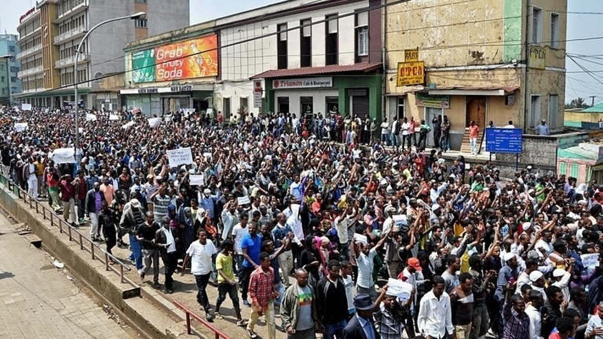 Thousands of Ethiopian opposition activists demonstrate in Addis Ababa on June 2, 2013. Ethiopian opposition activists demanded the release of journalists and political prisoners jailed under anti-terror legislation in demonstrations in two major towns.