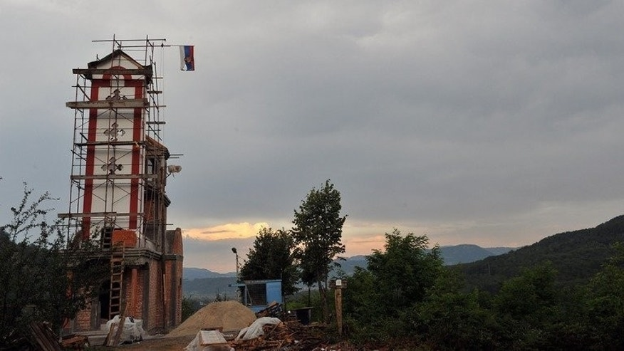 The bell tower of a Serbian Orthodox church under construction in Budak, near Srebrenica, on July 4, 2013. A new church being built near Srebrenica is sowing fresh discord in a town which was the site of the worst massacre in post-war Europe.
