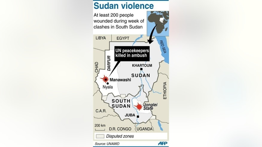 Map of Sudan and South Sudan locating a deadly attack against UN peacekeepers in Darfur and clashes in South Sudan. Fears have grown of heavy casualties in South Sudan's Jonglei state following more than a week of bitter tribal fighting, after the UN reported at least 200 wounded were found in just one village alone.