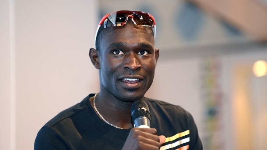 World 800m champion David Rudisha speaks at a news conference during the London Olympics on August 10, 2012. The Olympic champion has been left out of Kenya's 49-strong athletics team for next month's World Championships in Moscow.