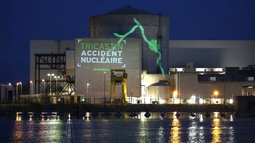 Greenpeace activists project images on the wall of the Tricastin Areva nuclear power plant in the French southeastern town of Pierrelatte, July 15, 2013