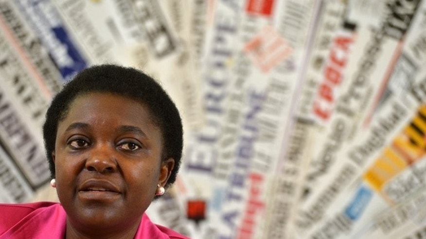 Italy's Integration Minister Cecile Kyenge gives a press conference on June 19, 2013 at the foreign press association in Rome. A senator from Italy's anti-immigration Northern League has come under fire for saying Kyenge, the country's first black minister, resembles an orangutan.