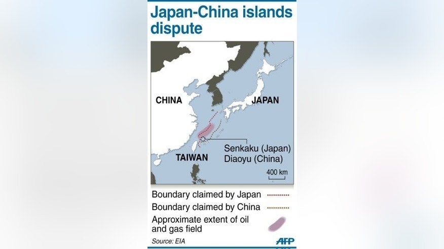 Graphic map showing the approximate extent of an oil and gas field in an area of disputed waters claimed by both Japan and China. Tensions have steadily risen between China and Japan, which accuses its powerful neighbour of sending an increasing number of ships to exert its claim over sparsely populated islands managed by Tokyo in the East China Sea.