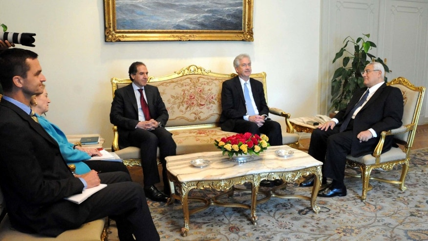 July 15, 2013 - U.S. Deputy Secretary of State William Burns, center right, meeting with Egypt's interim President Adly Mansour, right, as U.S. ambassador to Egypt Anne Patterson listens in, second left, at the presidential palace in Cairo. (image released by office of Egyptian Presidency.)