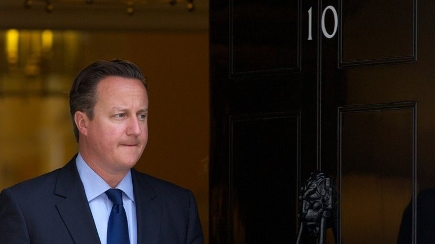Prime Minister David Cameron ahead of a meeting at 10 Downing Street on July 15, 2013. Support for his Conservative Party has surged thanks to a fall in the popularity of UKIP, according to a poll in the Guardian.